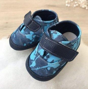 Пинетки на липучках Бетис Модель-6 Синий джинс текстиль