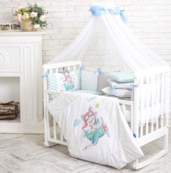 Балдахин на кроватку Маленькая Соня AkvarelГолубой/Белый 053507