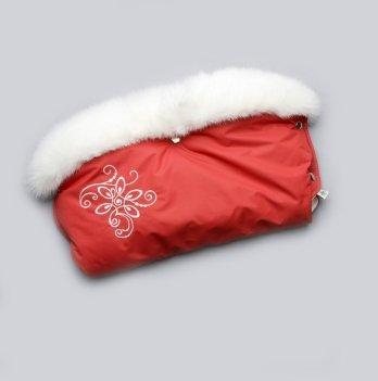 Муфта на коляску Модный карапуз красная с опушкой