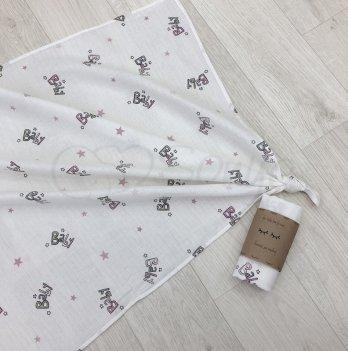 Пеленка муслиновая Маленькая Соня Baby 4666288 розовый 77х100 см