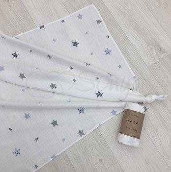 Пеленка муслиновая Маленькая Соня Старс 4666282 голубой 77х100 см