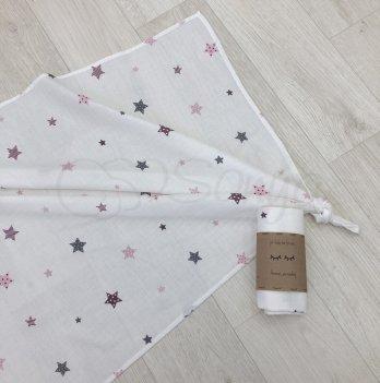 Пеленка муслиновая Маленькая Соня Старс 4666283 розовый 77х100 см