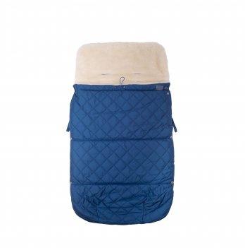 Зимний конверт в прогулочную коляску на овчине Merrygoround Синий