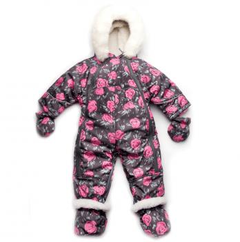 Комбинезон-трансформер зимний для девочки Модный карапуз, на меху