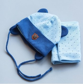 Комплект демисезонный шапка и снуд Модный карапуз Ренат Голубой с синим 03-00847