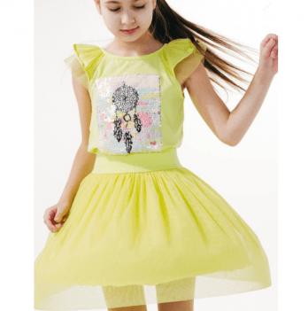 Юбка для девочки Smil от 2 до 6 лет желто-салатовая