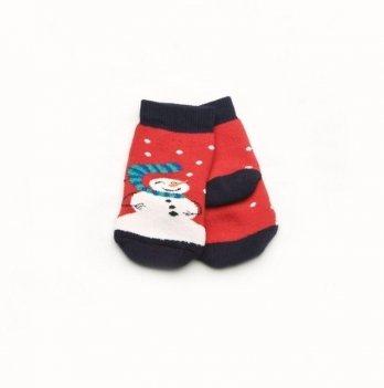 Носки махровые Модный карапуз Снеговик Красный 101-00849