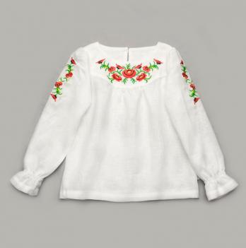 Вышиванка для девочки Модный карапуз, льняная, белая