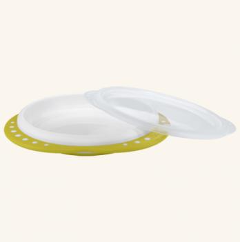 Тарелка для обучения самостоятельному приему пищи NUK Easy Learning, с крышкой