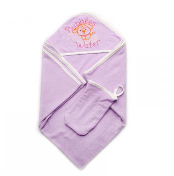 Детское полотенце для купания с рукавичкой Модный карапуз, сиреневое