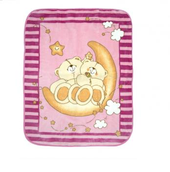 Одеяло детское Golden Spring Мишка, велюр, 100 х 100см, розовое