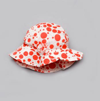 Панама с цветком для девочки Модный карапуз, красная