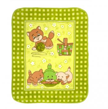 Одеяло детское Golden Spring Котята, велюр, 100 х 100см, салатовое