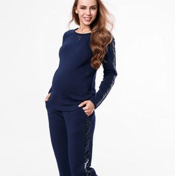 Модный теплый костюм MySecret, для беременных и кормящих, синий