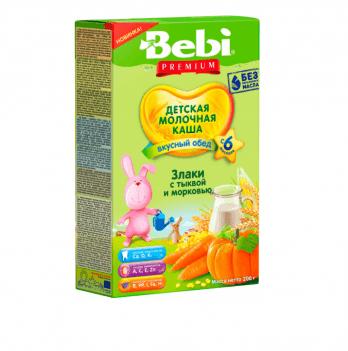 Каша мультизлаковая Kolinska Bebi PREMIUM, молочная, тыква, морковь 200г