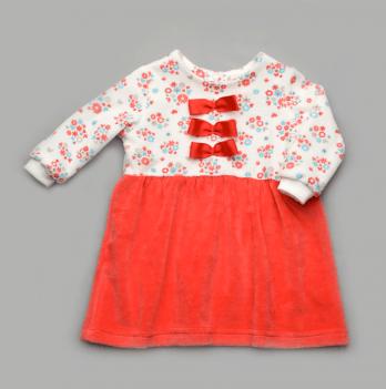 Платье велюровое Модный карапуз, коралловое