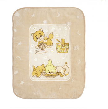 Одеяло детское Golden Spring Котята, велюр, 100 х 100см, кремовое