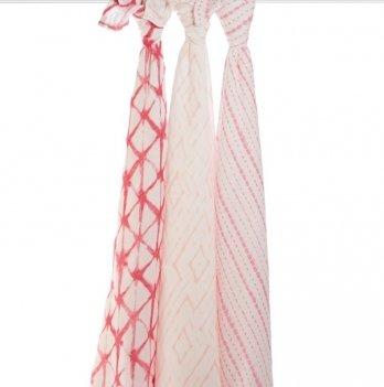 Пеленки бамбуковые Aden&Anais Berry Shibori, бело-розовый 3 шт.