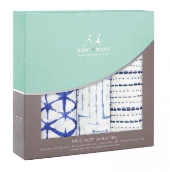 Пеленки бамбуковые Aden&Anais Indigo, бело-синие, 3 шт.