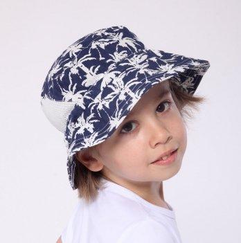 Панама для мальчика Модный карапуз Пальмы Синий 6-24 мес