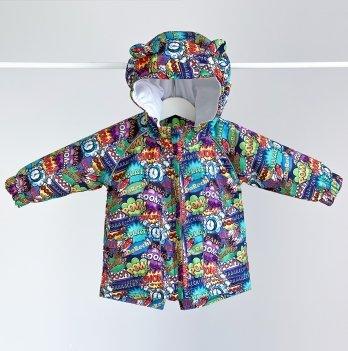 Куртка детская демисезонная ДоРечі Комиксы в космосе Желтый/Фиолетовый 9 мес - 2 года 1961