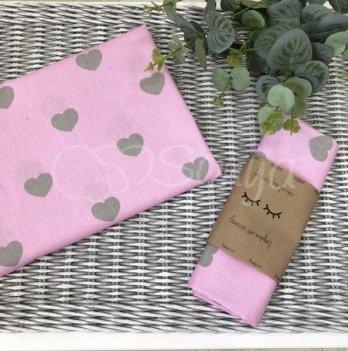 Пеленка бязь Маленькая Соня сердечки серые на розовом 4667264 80х100 см