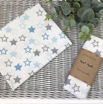 Пеленка бязь Маленькая Соня звезды серо-голубые на белом 4667328 80х100 см