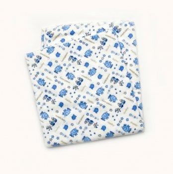 Пеленка фланелевая для мальчика Модный карапуз Голубой 03-00617 90х105 см