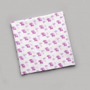 Пеленка ситцевая Модный карапуз Котики Сиреневый 01-00136 90х105 см