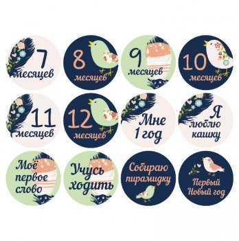 Набор наклеек для фото Memiks Перышки 7-12 месяцев рус.