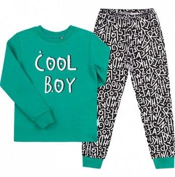 Пижама для мальчика Bembi Зеленый/Черный Интерлок ПЖ39