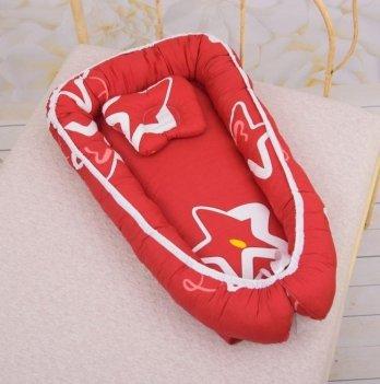 Кокон с ортопедическим матрасом и подушкой Бетис Яркие звезды Стандарт Красный 27683329 50х80 см