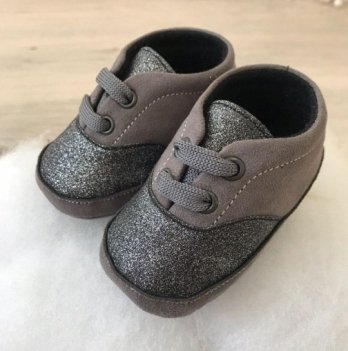 Пинетки на шнурках Бетис Модель-15 текстиль Серый