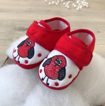 Пинетки на липучках Бетис Модель-20 текстиль Пингвин Красный