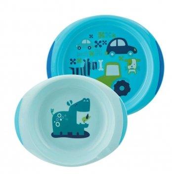 Набор тарелок Chicco 12+ Голубой 16002.20