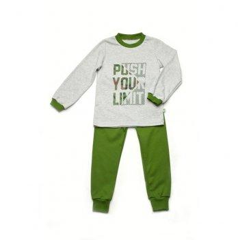 Пижама для мальчика Модный карапуз Серый с зеленым 03-00813
