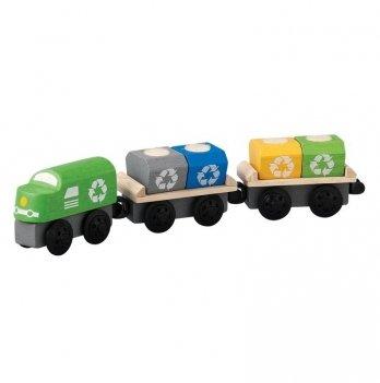 Деревянная машинка PlanToys® Поезд-мусоровоз