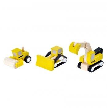 Набор деревянных машинок PlanToys®, Набор дорожно-строительной техники