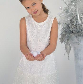 Нарядное новогоднее платье для девочки Модный карапуз, с гипюром
