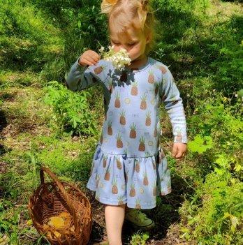 Детское платье для девочки Модный карапуз Ананас Голубой 2-4 года