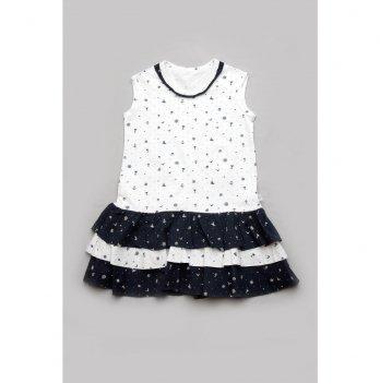 Платье для девочки Модный карапуз Якоря Белый 03-00881