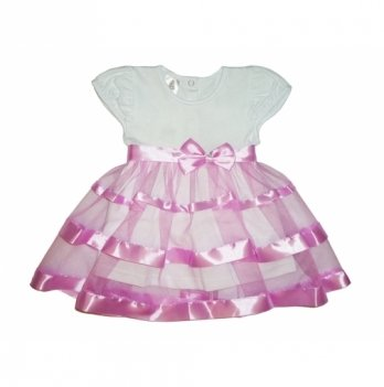 Платье Маленькая Леди, короткий рукав, кулир Бетис, лиловый