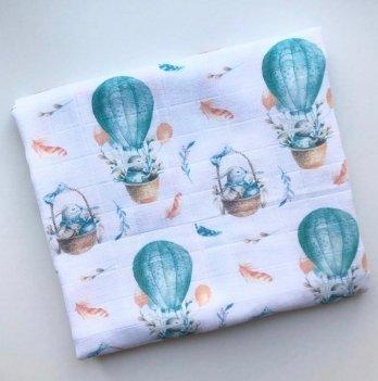 Муслиновая пеленка Embrace Зайки на шарах 120х100 см