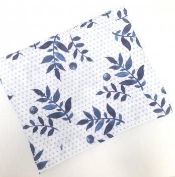 Муслиновая пеленка Embrace Синие мелкие листики 100х80 см