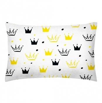 Детская наволочка бязь Cosas Crowns Grey-Yellow 60х40 см