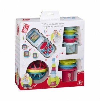 Подарочный набор (музыкальный телефон, мягкий мяч, набор форм-пасок), Vulli, Жирафа Софи