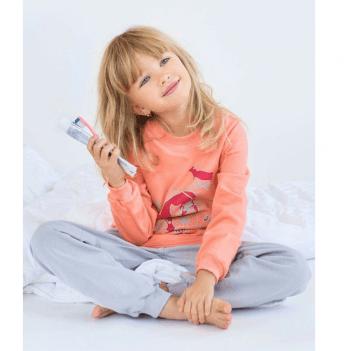Пижама утепленная для девочки Модный карапуз, персиковая
