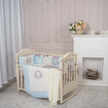 Комплект Маленькая Соня Elegance, стандартная кроватка, 6 предметов, голубой