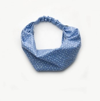 Повязка-косынка для девочки Модный карапуз 03-00704 голубой принт цветочки