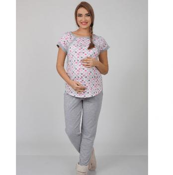 Пижама для беременных и кормящих MySecret, котики на молоке/серый меланж